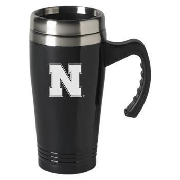 University of Nebraska-16 oz. Stainless Steel Mug-Black