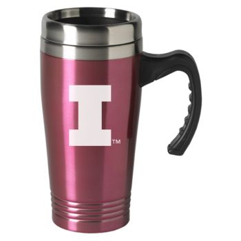 University of Illinois-16 oz. Stainless Steel Mug-Pink