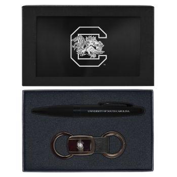 University of South Carolina -Executive Twist Action Ballpoint Pen Stylus and Gunmetal Key Tag Gift Set-Black