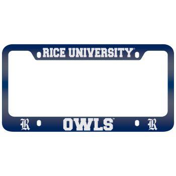 Rice University -Metal License Plate Frame-Blue