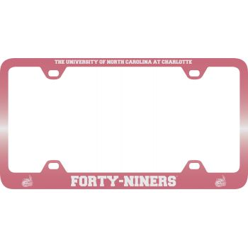 University of North Carolina at Charlotte -Metal License Plate Frame-Pink