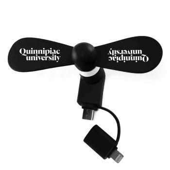 Quinnipiac University -Silicone Cell Phone Fan-Micro/Lightning-Black