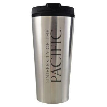 University of The Pacific -16 oz. Travel Mug Tumbler-Silver