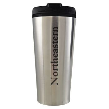 Northeastern University -16 oz. Travel Mug Tumbler-Silver