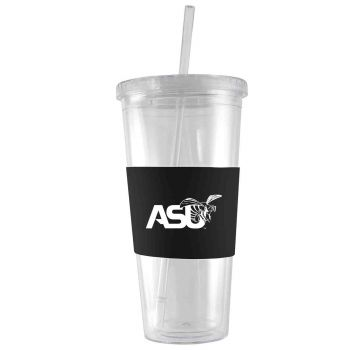 Alabama State University-24 oz. Acrylic Tumbler- Engraved Silicone Sleeve-Black