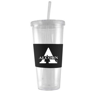 Alcorn State University-24 oz. Acrylic Tumbler- Engraved Silicone Sleeve-Black