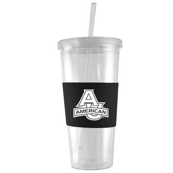 American University-24 oz. Acrylic Tumbler- Engraved Silicone Sleeve-Black