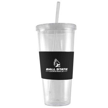 Ball State University-24 oz. Acrylic Tumbler- Engraved Silicone Sleeve-Black