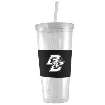 Boston College-24 oz. Acrylic Tumbler- Engraved Silicone Sleeve-Black