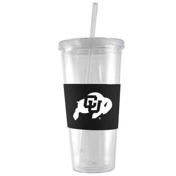 University of Colorado-24 oz. Acrylic Tumbler- Engraved Silicone Sleeve-Black
