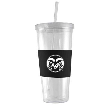 Colorado State University-24 oz. Acrylic Tumbler- Engraved Silicone Sleeve-Black