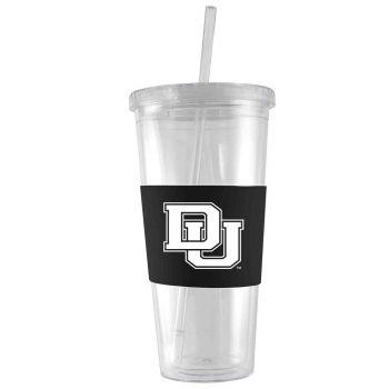 University of Denver-24 oz. Acrylic Tumbler- Engraved Silicone Sleeve-Black