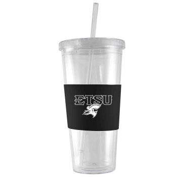 East Tennessee State University-24 oz. Acrylic Tumbler- Engraved Silicone Sleeve-Black