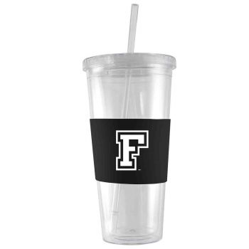Fordham University-24 oz. Acrylic Tumbler- Engraved Silicone Sleeve-Black