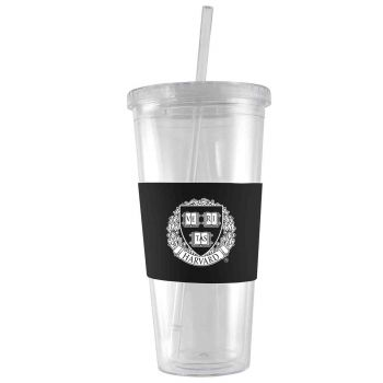 Harvard University -24 oz. Acrylic Tumbler- Engraved Silicone Sleeve-Black