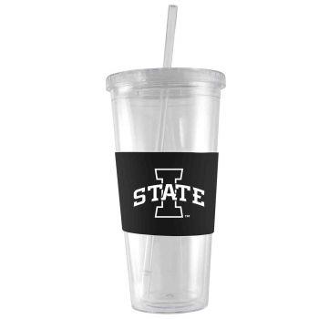 Iowa State University-24 oz. Acrylic Tumbler- Engraved Silicone Sleeve-Black
