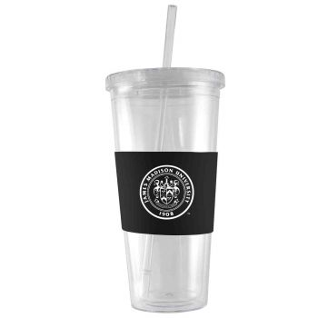 James Madison University-24 oz. Acrylic Tumbler- Engraved Silicone Sleeve-Black