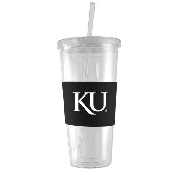 The University of Kansas-24 oz. Acrylic Tumbler- Engraved Silicone Sleeve-Black