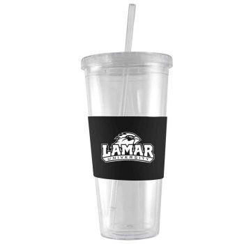 Lamar University-24 oz. Acrylic Tumbler- Engraved Silicone Sleeve-Black