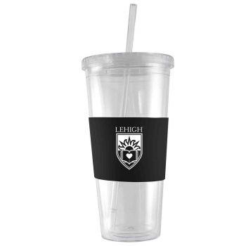 Lehigh University-24 oz. Acrylic Tumbler- Engraved Silicone Sleeve-Black