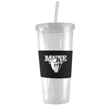 University of Maine-24 oz. Acrylic Tumbler- Engraved Silicone Sleeve-Black