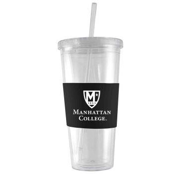 Manhattan College-24 oz. Acrylic Tumbler- Engraved Silicone Sleeve-Black