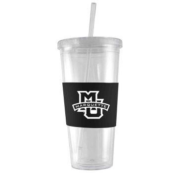 Marquette University-24 oz. Acrylic Tumbler- Engraved Silicone Sleeve-Black
