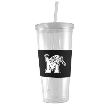 University of Memphis-24 oz. Acrylic Tumbler- Engraved Silicone Sleeve-Black