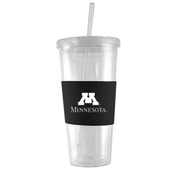 University of Minnesota-24 oz. Acrylic Tumbler- Engraved Silicone Sleeve-Black