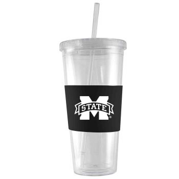 Mississippi State University -24 oz. Acrylic Tumbler- Engraved Silicone Sleeve-Black