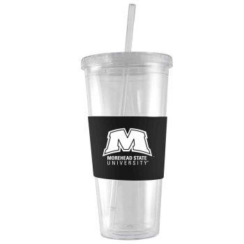 Morehead State University-24 oz. Acrylic Tumbler- Engraved Silicone Sleeve-Black