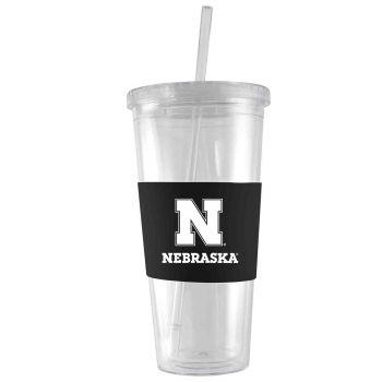 University of Nebraska-24 oz. Acrylic Tumbler- Engraved Silicone Sleeve-Black