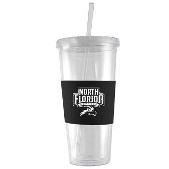 University of North Florida-24 oz. Acrylic Tumbler- Engraved Silicone Sleeve-Black
