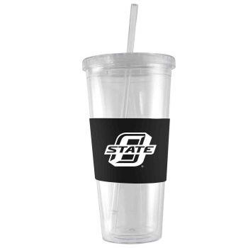 Oklahoma State University-24 oz. Acrylic Tumbler- Engraved Silicone Sleeve-Black