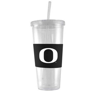 University Of Oregon -24 oz. Acrylic Tumbler- Engraved Silicone Sleeve-Black