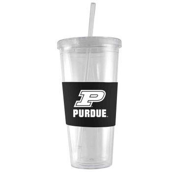 Purdue University-24 oz. Acrylic Tumbler- Engraved Silicone Sleeve-Black