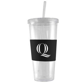 Quinnipiac University -24 oz. Acrylic Tumbler- Engraved Silicone Sleeve-Black