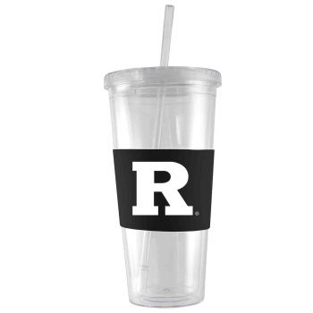 Rutgers University-24 oz. Acrylic Tumbler- Engraved Silicone Sleeve-Black