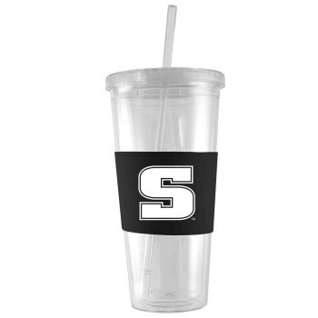 Slippery Rock University -24 oz. Acrylic Tumbler- Engraved Silicone Sleeve-Black