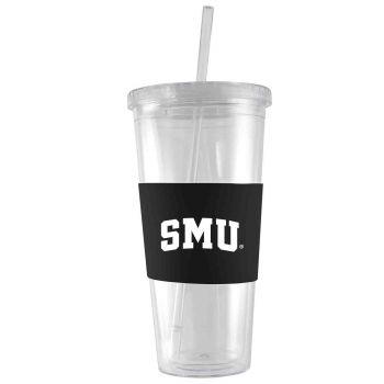Southern Methodist University-24 oz. Acrylic Tumbler- Engraved Silicone Sleeve-Black