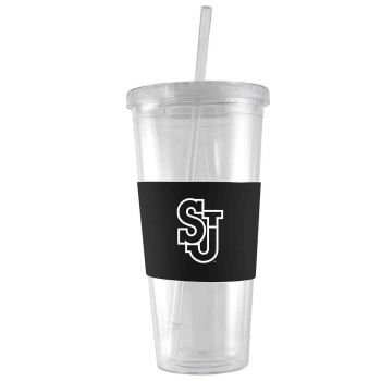 St. John's University-24 oz. Acrylic Tumbler- Engraved Silicone Sleeve-Black
