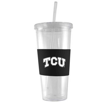 Texas Christian University-24 oz. Acrylic Tumbler- Engraved Silicone Sleeve-Black