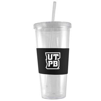 The University of Texas at The Permian Basin-24 oz. Acrylic Tumbler- Engraved Silicone Sleeve-Black