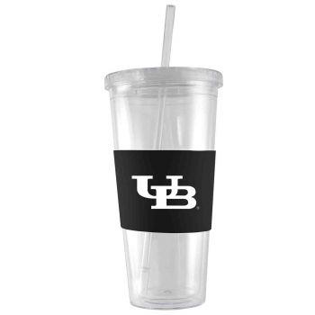 University at Buffalo-24 oz. Acrylic Tumbler- Engraved Silicone Sleeve-Black