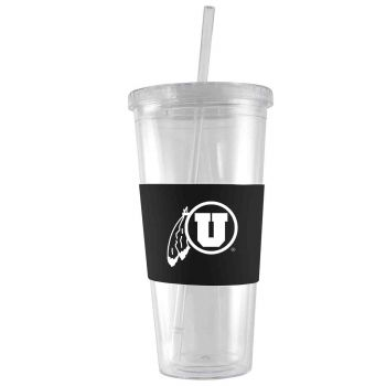 University of Utah-24 oz. Acrylic Tumbler- Engraved Silicone Sleeve-Black