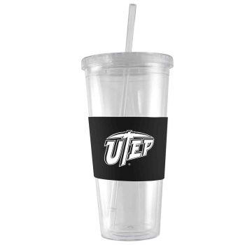 The University of Texas at El Paso -24 oz. Acrylic Tumbler- Engraved Silicone Sleeve-Black