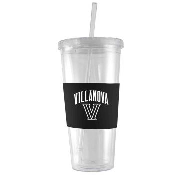 Villanova University-24 oz. Acrylic Tumbler- Engraved Silicone Sleeve-Black