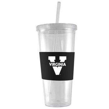 University of Virginia-24 oz. Acrylic Tumbler- Engraved Silicone Sleeve-Black