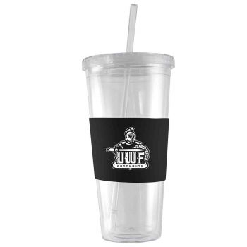 University of West Florida-24 oz. Acrylic Tumbler- Engraved Silicone Sleeve-Black