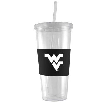 West Virginia University-24 oz. Acrylic Tumbler- Engraved Silicone Sleeve-Black
